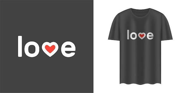 T-shirt noir avec texte d'amour