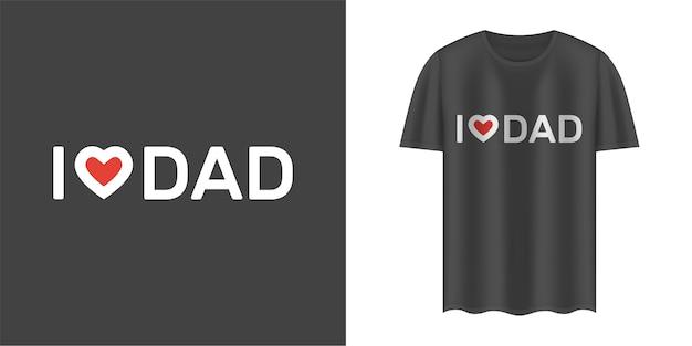 T-shirt noir avec texte j'aime papa.