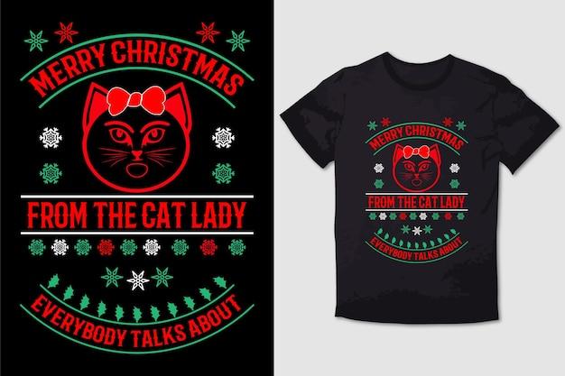 T-shirt de nol joyeux nol de la dame de chat fou tout le monde parle de