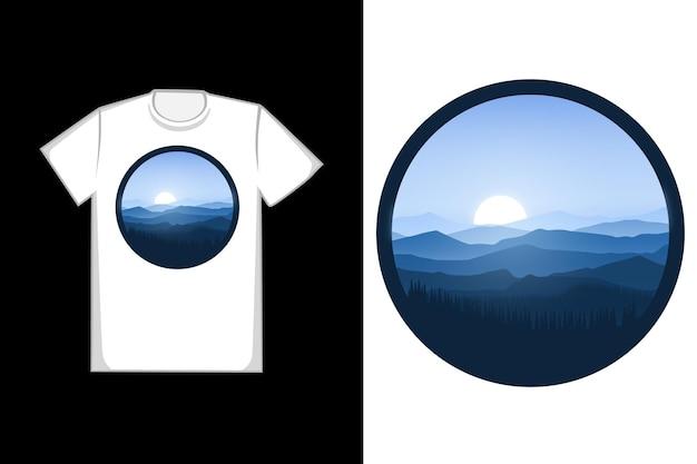 T-shirt de nombreuses montagnes et forêts naturelles couleur bleu et gris