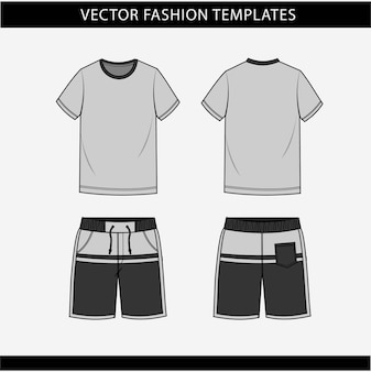 T-shirt et pantalon vue avant et arrière