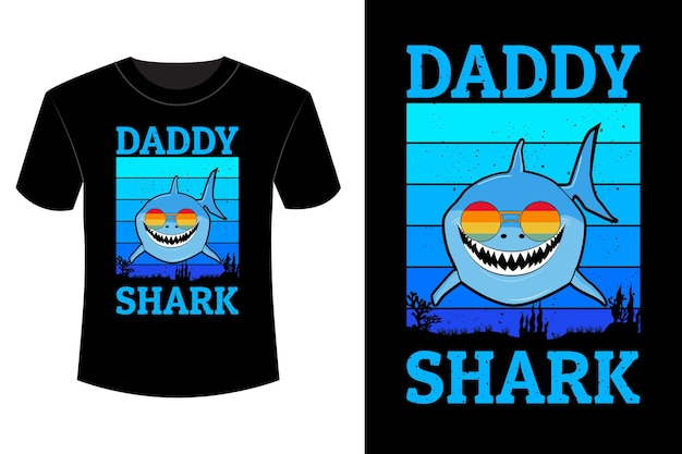 T-shirt papa requin design vintage rétro