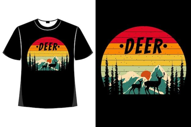 T-shirt paysage de pin de montagne été style rétro