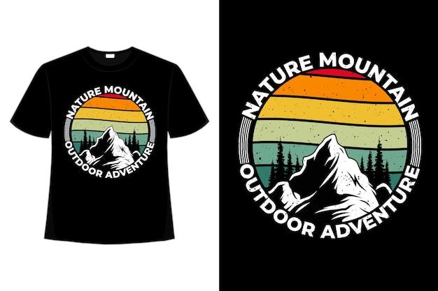 T-shirt pin de montagne aventure nature rétro