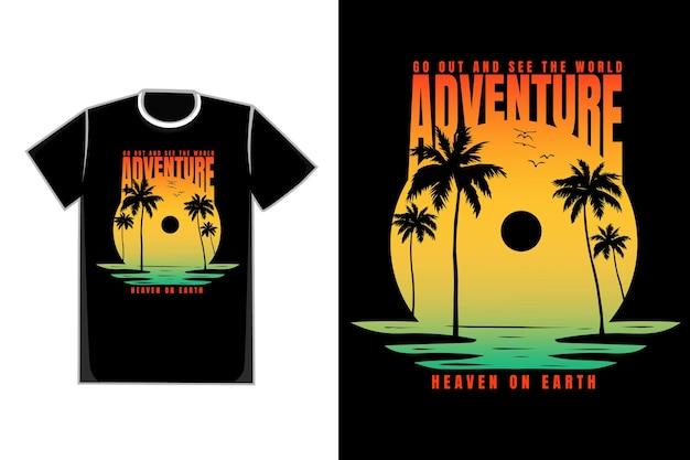 T-shirt plage coucher de soleil belle aventure arbre style rétro vintage