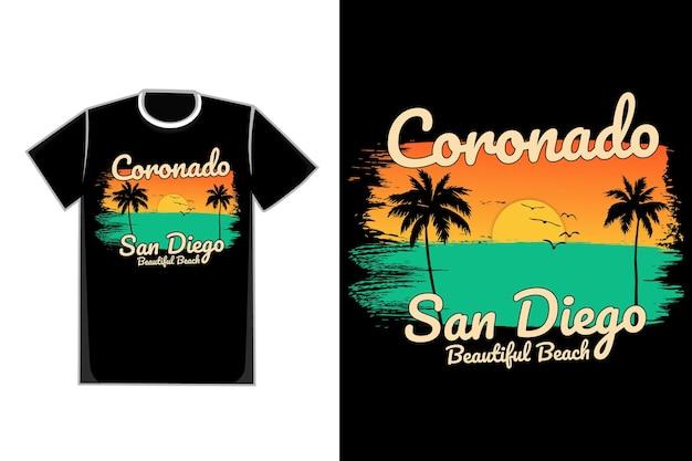 T-shirt plage coucher de soleil brosse belle nature style vintage coronado