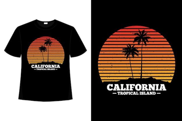 T-shirt plage coucher de soleil californie île tropicale
