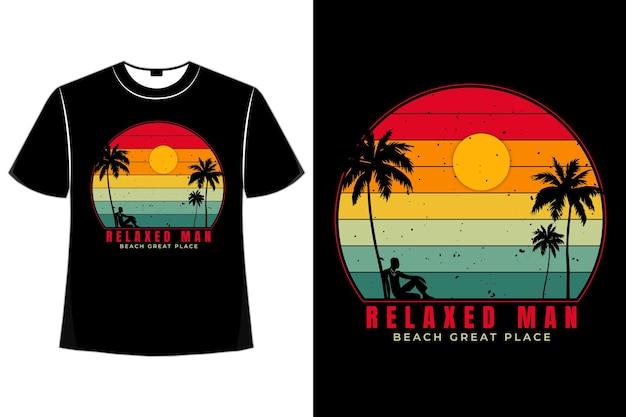 T-shirt plage homme décontracté plage style rétro