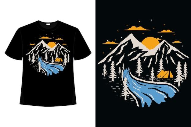 T-shirt en plein air aventure nature pin montagne dessinés à la main illustration vintage