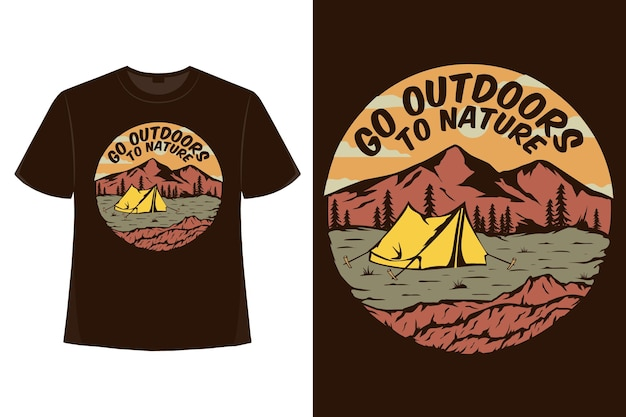 T-shirt en plein air nature camping montagne dessinés à la main style rétro illustration vintage