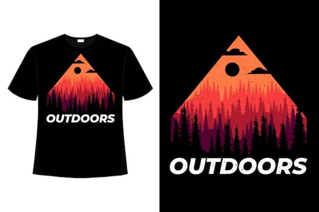 T-shirt en plein air pin montagne été style rétro vintage illustration
