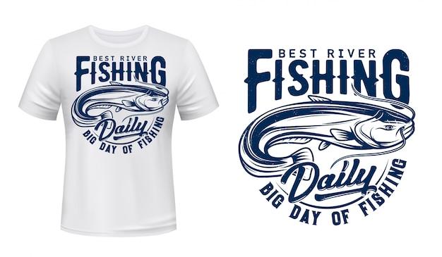 T-shirt de poisson-chat imprimé maquette, sport de pêche