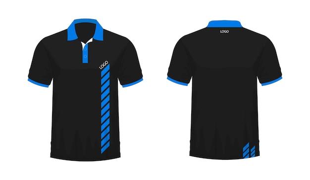 T-shirt polo modèle bleu et noir pour la conception sur fond blanc. illustration vectorielle eps 10.