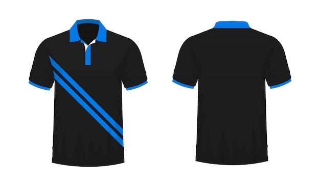 T-shirt polo modèle bleu et noir pour la conception sur fond blanc.
