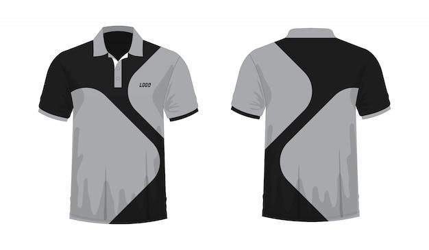 T-shirt polo modèle gris et noir pour la conception sur fond blanc.