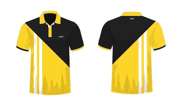 T-shirt polo modèle jaune et noir pour la conception sur fond blanc. illustration vectorielle eps 10.