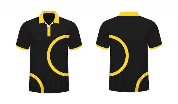 T-shirt polo modèle jaune et noir pour la conception sur fond blanc.