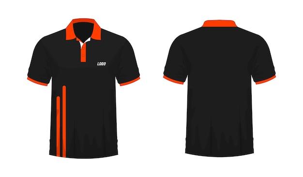 T-shirt polo modèle orange et noir pour la conception sur fond blanc. illustration vectorielle eps 10.