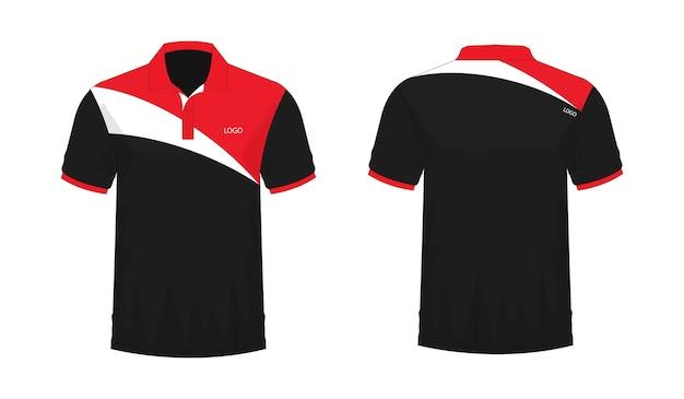 T-shirt polo modèle rouge et noir pour la conception sur fond blanc. illustration vectorielle eps 10.