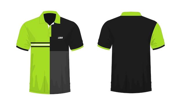 T-shirt polo modèle vert et noir pour la conception sur fond blanc. illustration vectorielle eps 10.