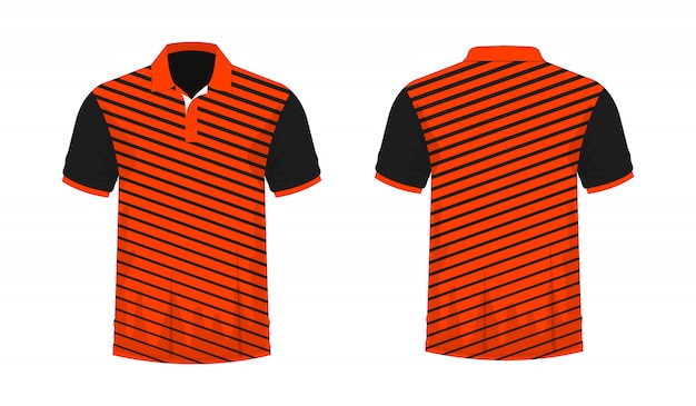 T-shirt polo orange et noir modèle pour la conception sur fond blanc.