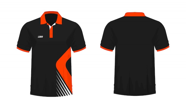 T-shirt polo orange et noir t illustration