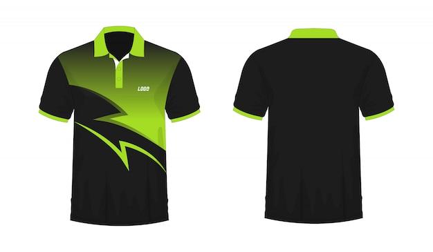 T-shirt polo vert et noir t illustration