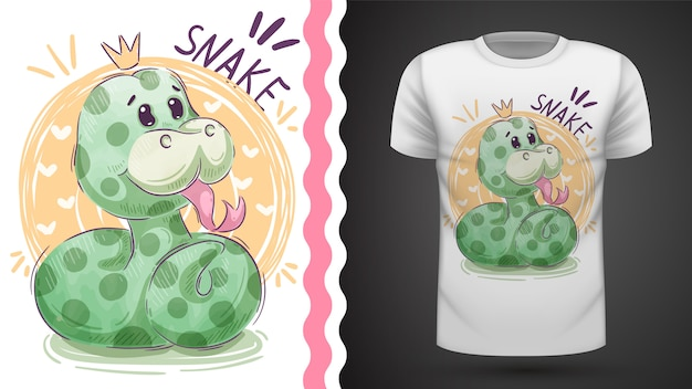 T-shirt princesse mignon serpent - idée d'impression