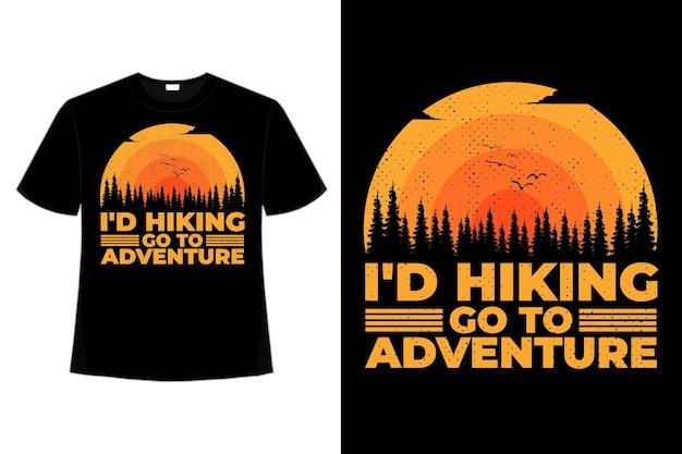 T-shirt randonnée aventure coucher de soleil ciel plat palmier style rétro vintage illustration