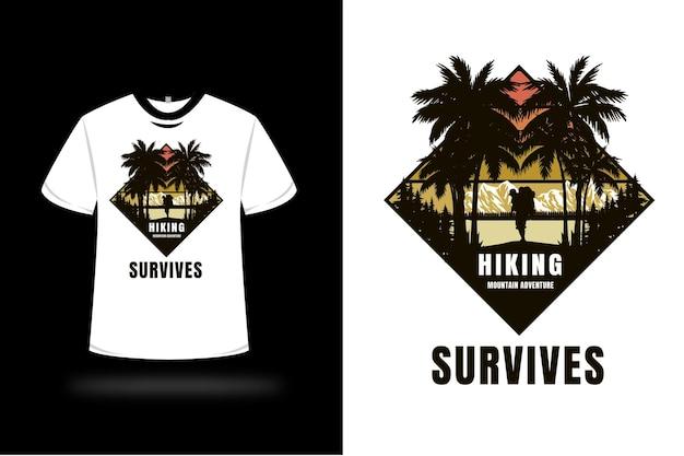 T-shirt randonnée aventure en montagne survit couleur jaune et marron