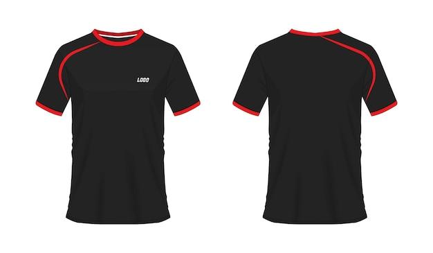 T-shirt rouge et noir modèle de football ou de football pour club d'équipe sur fond blanc. maillot de sport.