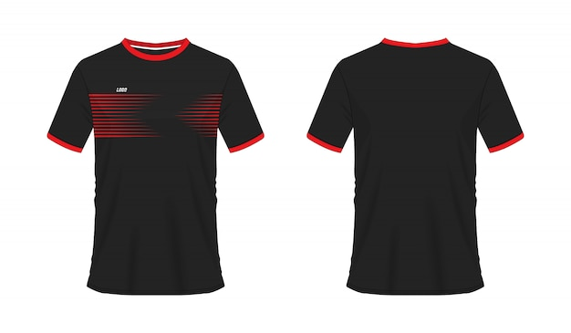 T-shirt rouge et noir modèle de football ou de football pour le club d'équipe. sport jersey,