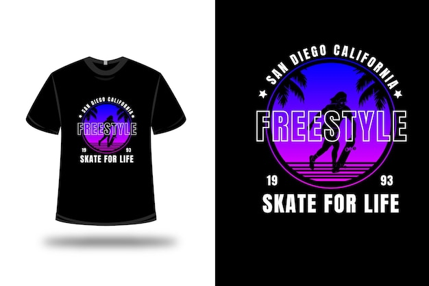 T-shirt san diego california freestyle skateboard couleur bleu et rose