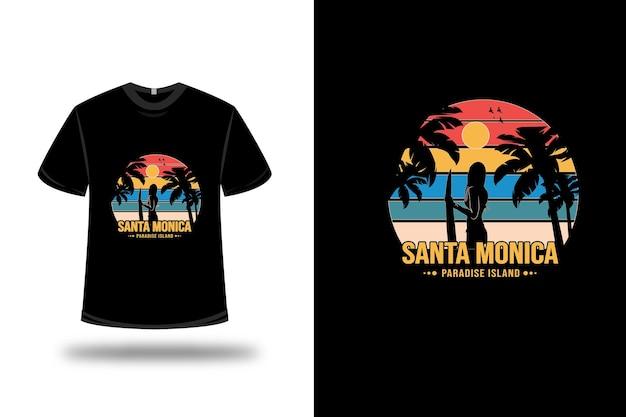 T-shirt santa monica paradise island couleur orange jaune et bleu vert