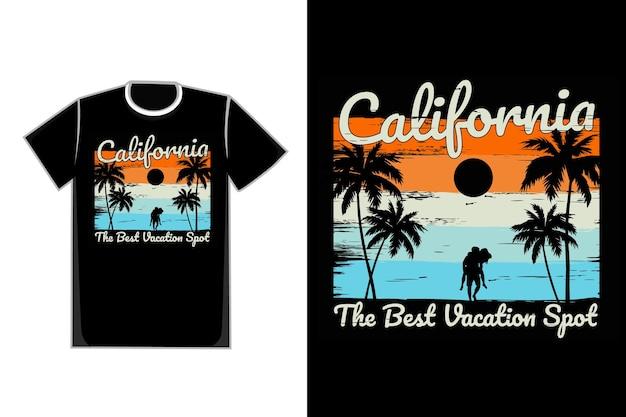 T-shirt silhouette plage californie vacances style vintage rétro
