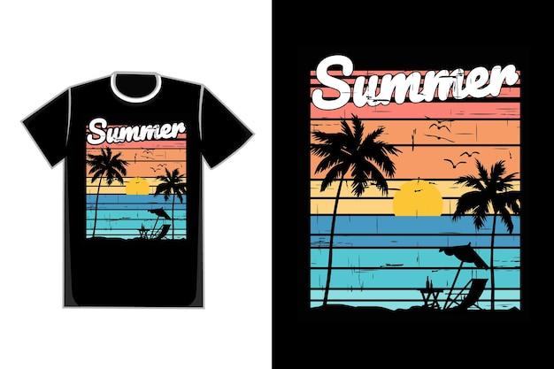 T-shirt silhouette plage coucher de soleil ciel beau rétro vintage