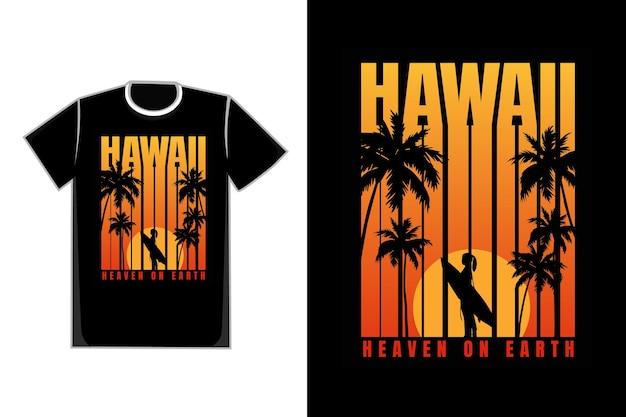 T-shirt silhouette plage dégradé coucher de soleil style rétro