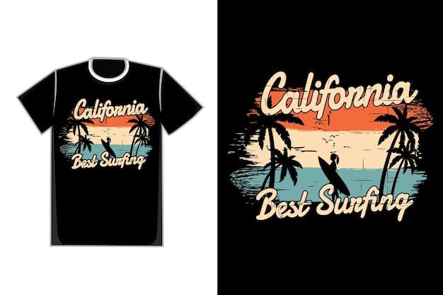 T-shirt silhouette plage été californie surf style vintage rétro