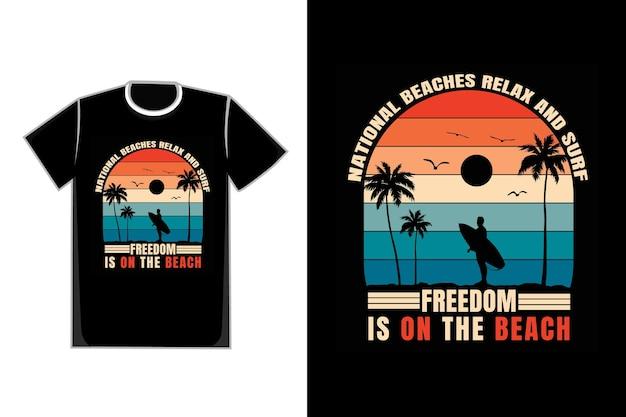 T-shirt silhouette plage suft liberté nature style rétro
