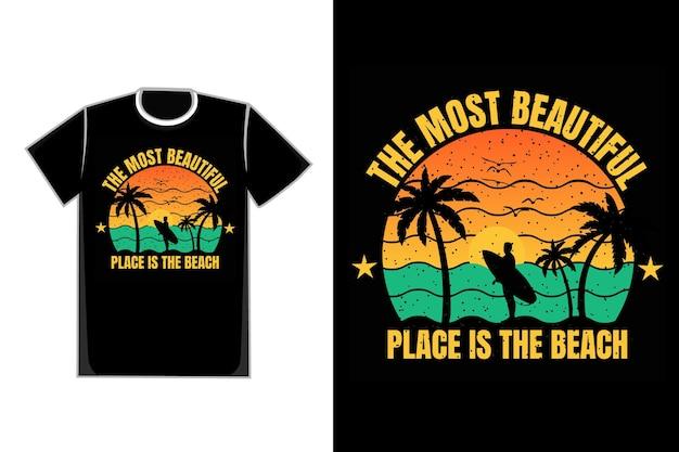 T-shirt silhouette surf belle plage coucher de soleil style rétro