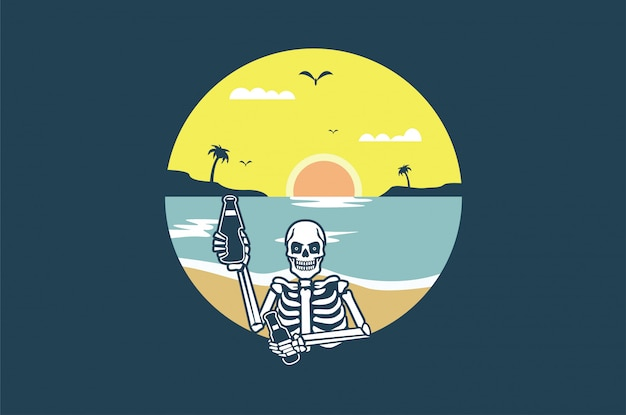 T-shirt skull summer design graphique
