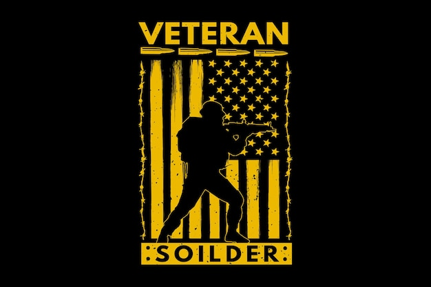 T-shirt soldat drapeau américain vétéran illustration vintage rétro