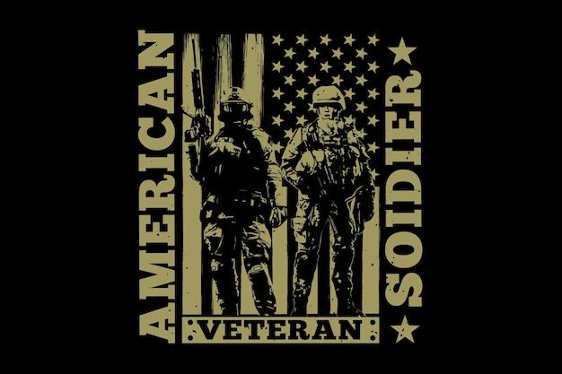 T-shirt soldat drapeau vétéran américain retro vintage illustration
