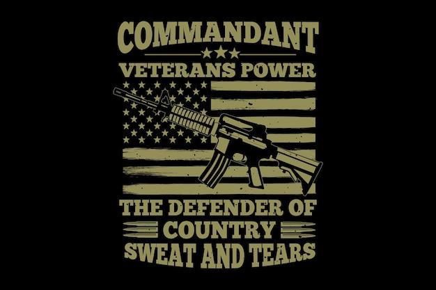 T-shirt soldat vétéran commandant typographie illustration vintage