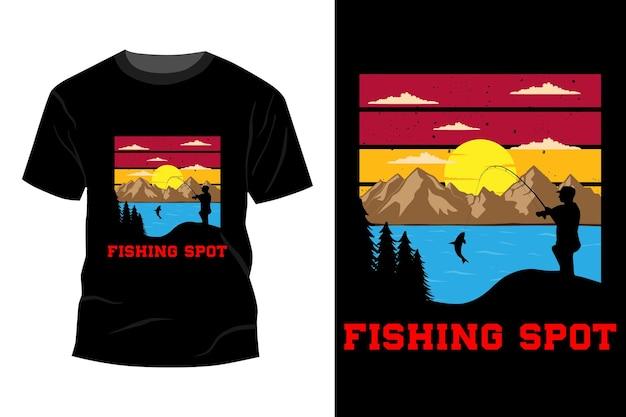 T-shirt spot de pêche design vintage rétro