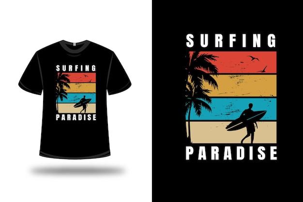 T-shirt surfing paradise couleur orange jaune vert et crème