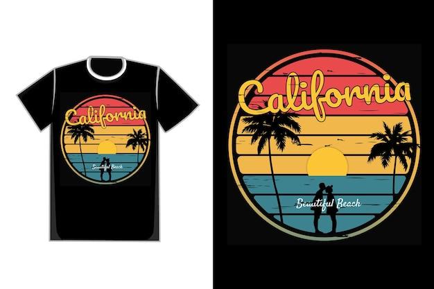 T-shirt typographie californie plage couple coucher de soleil style rétro