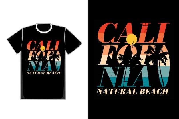 T-shirt typographie californie plage naturelle coucher de soleil rétro