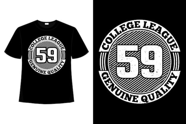 T-shirt typographie college league style vintage de qualité authentique