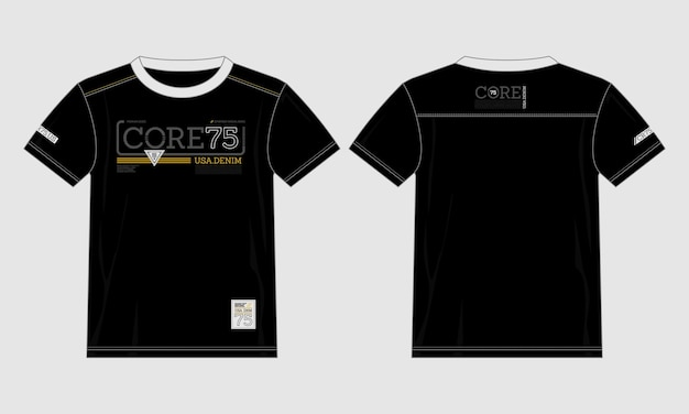 T-shirt de typographie en denim de style moderne vecteur premium